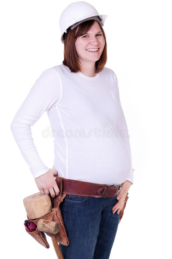 gravid arbetare för konstruktion royaltyfri bild