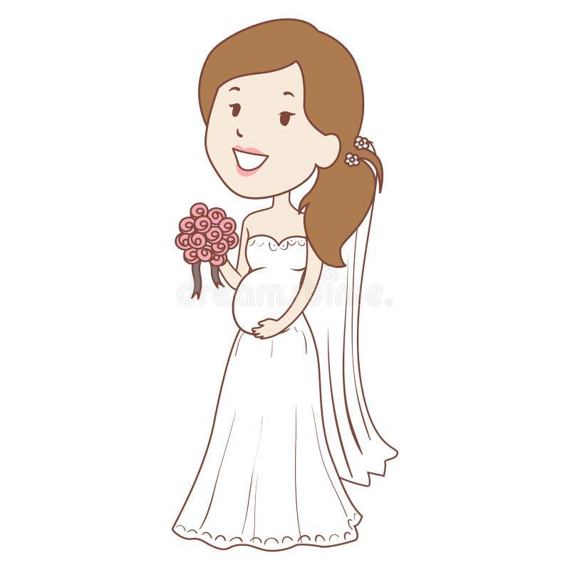 Gravid bukett för brudinnehavblomma stock illustrationer