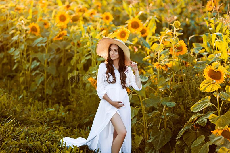 Gravid europeisk kvinna i ett fält av solrosor, härlig ung europeisk kvinna som väntar på ett barn, prenant kvinna med royaltyfri foto