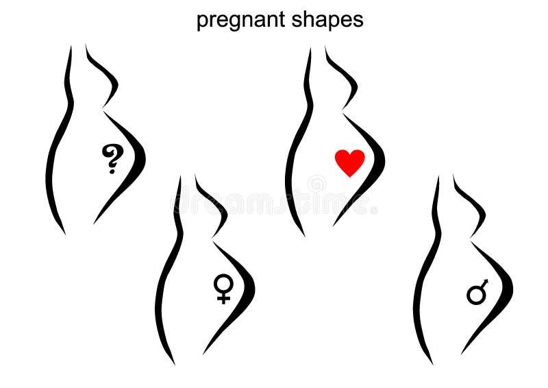 gravid formkvinna royaltyfri illustrationer