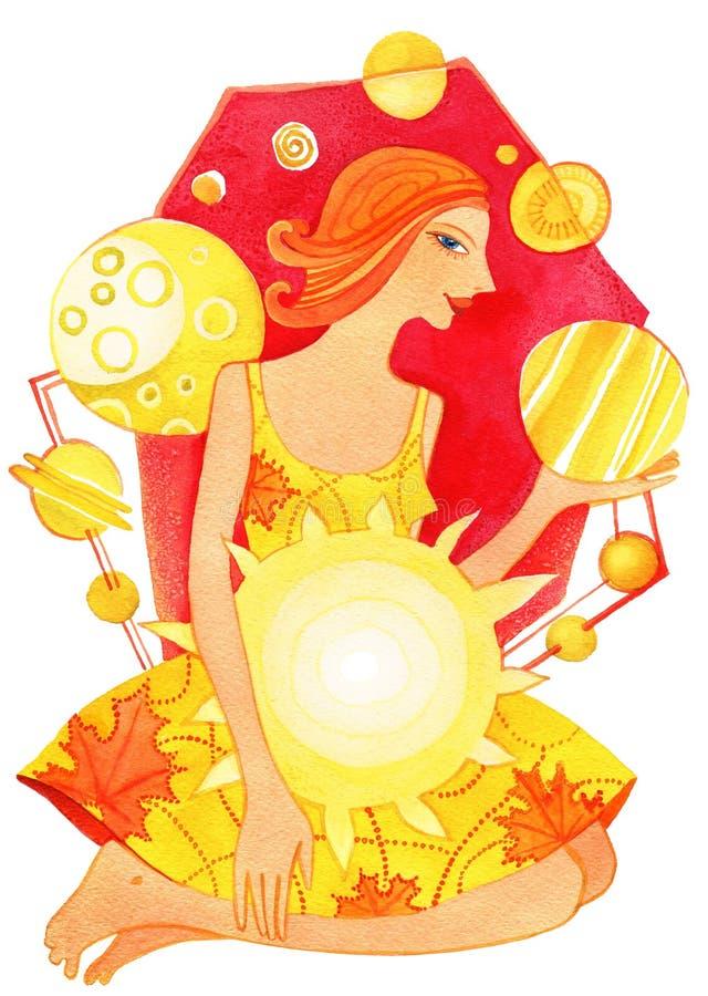 Gravid-horoskop gravid kvinna som höstsymbol vektor illustrationer