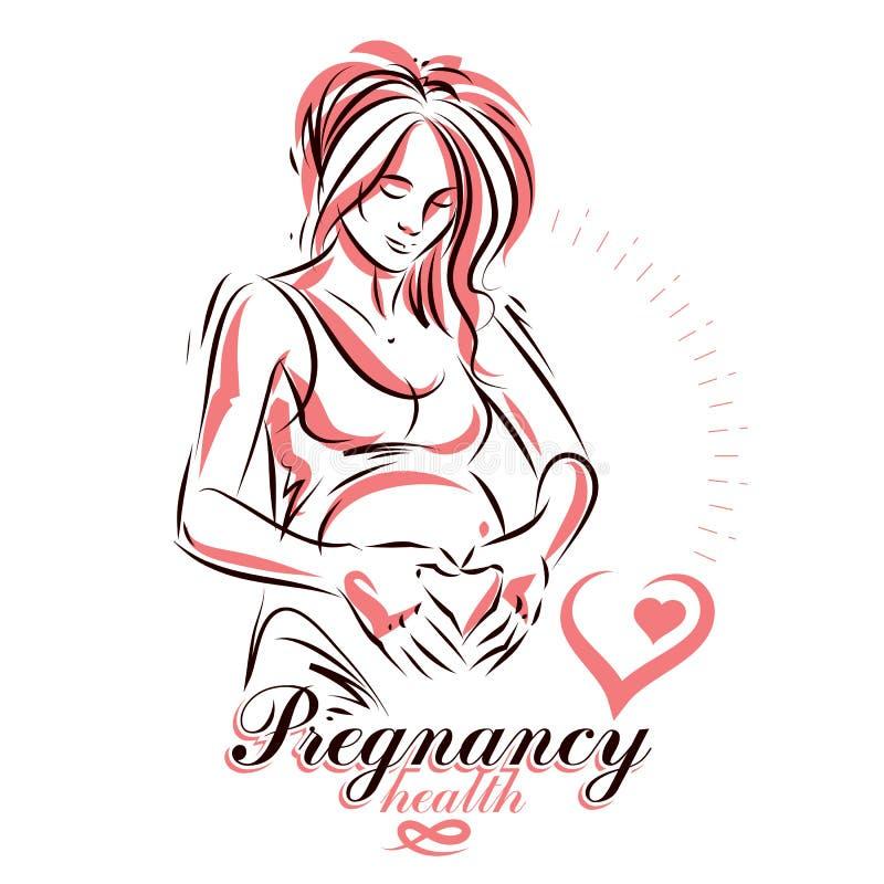 Gravid illustration f?r vektor f?r form f?r kvinnlig kropp hand dragen, h?rlig dam som trycker p? f?rsiktigt hennes buk royaltyfri illustrationer