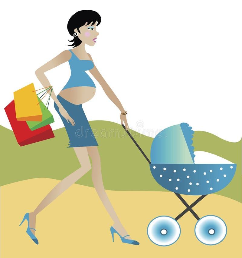 gravid kvinna royaltyfri illustrationer