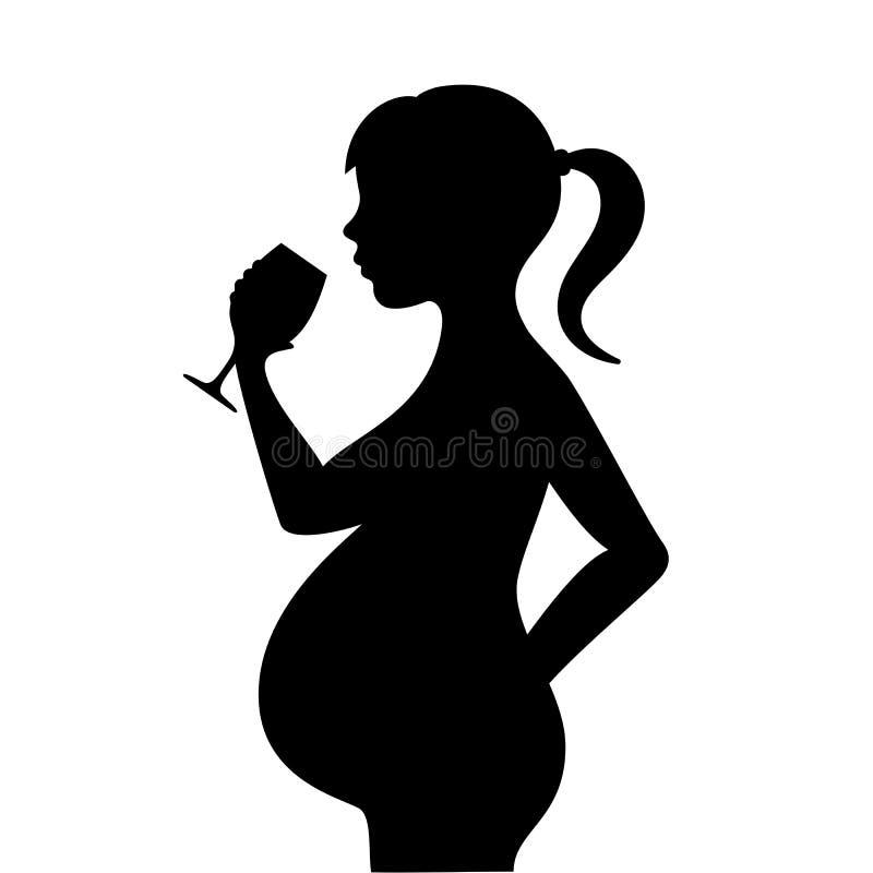 Gravid kvinna med alkoholdrycken royaltyfri illustrationer