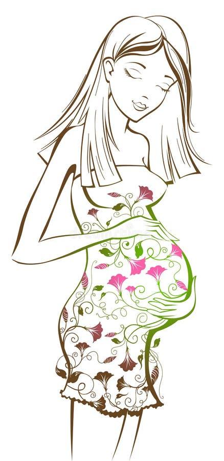 Gravid kvinna med den blom- modellen stock illustrationer