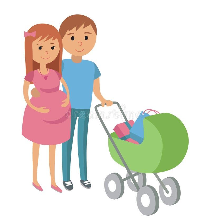 gravid kvinna och hennes make på shopping stock illustrationer