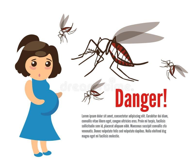 Gravid kvinna som anfallas av myggor vektor illustrationer
