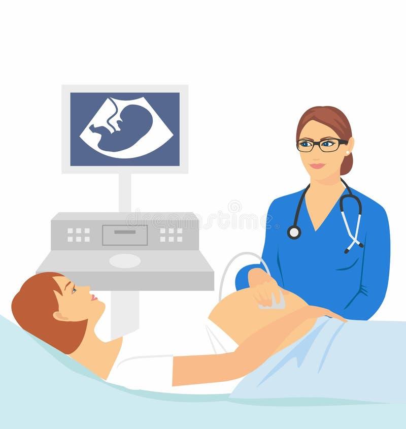 gravid kvinna som gör ultraljudet vektor illustrationer
