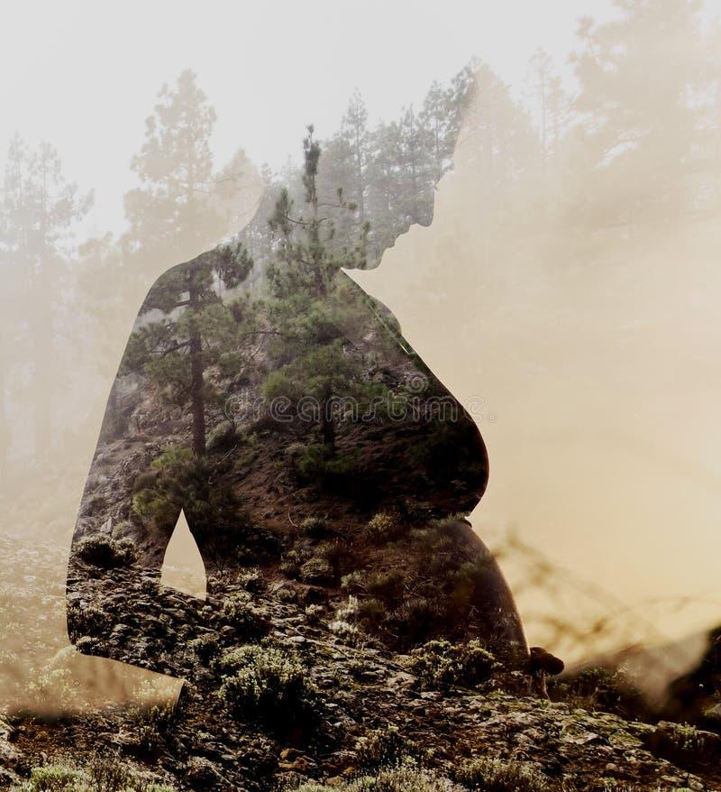 Gravid kvinna som kombineras med naturen arkivfoto
