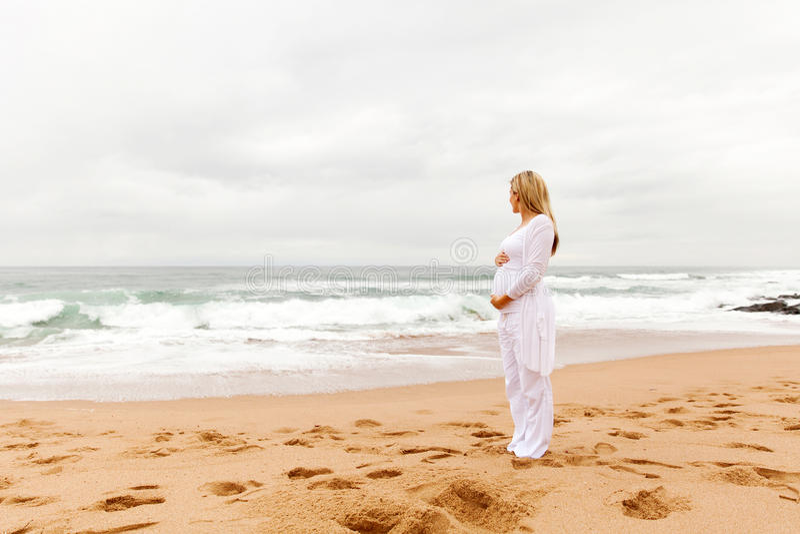 Gravid kvinna som ser havet royaltyfri bild