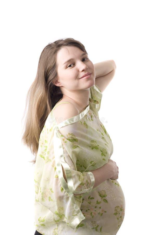 gravid kvinnabarn för stående ii arkivfoto