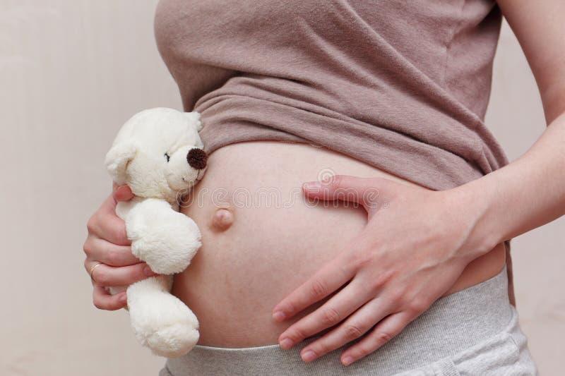 Gravid kvinnabuk med nallebjörnen royaltyfri bild