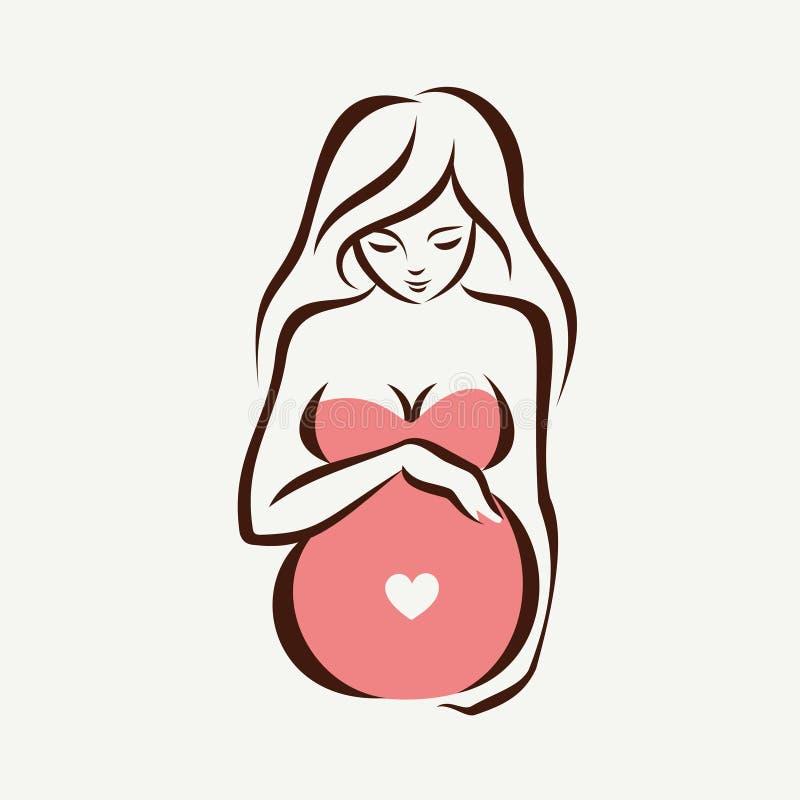Gravid kvinnasymbol royaltyfri illustrationer