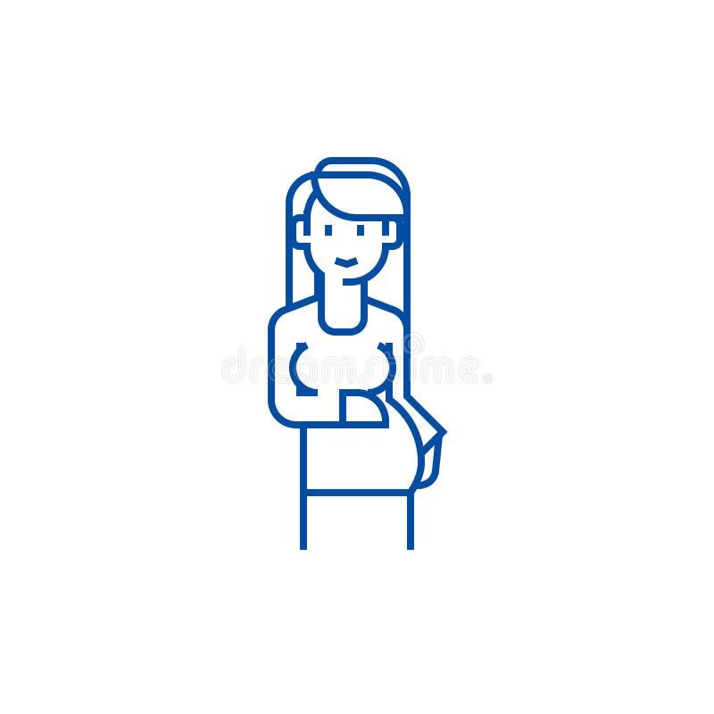 Gravid kvinnateckenlinje symbolsbegrepp Symbol för vektor för gravid kvinnatecken plant, tecken, översiktsillustration vektor illustrationer