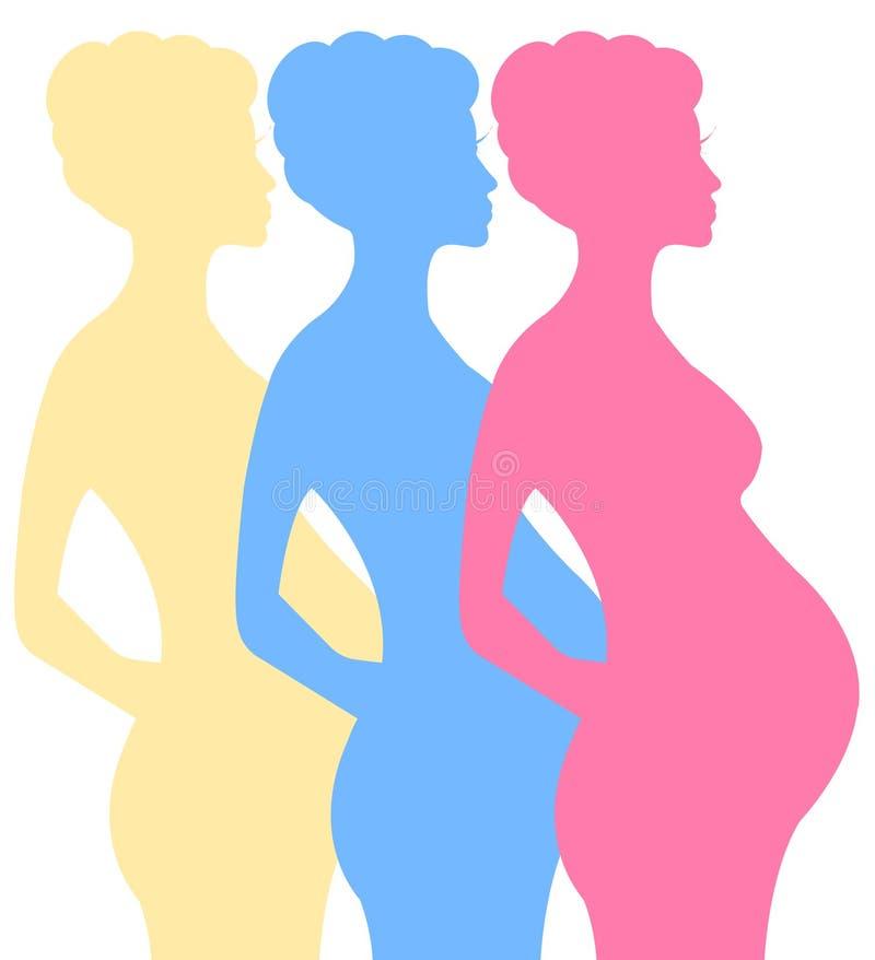 Gravid kvinnavektorillustration royaltyfri illustrationer