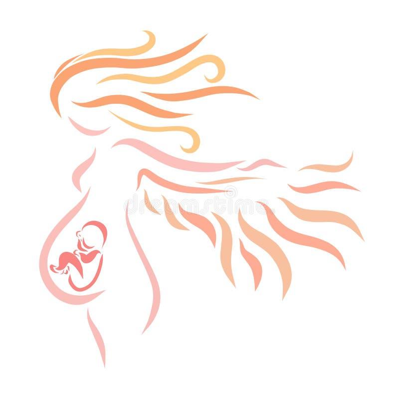 Gravid med vingar och ett barn som inte har vänt ännu över vektor illustrationer
