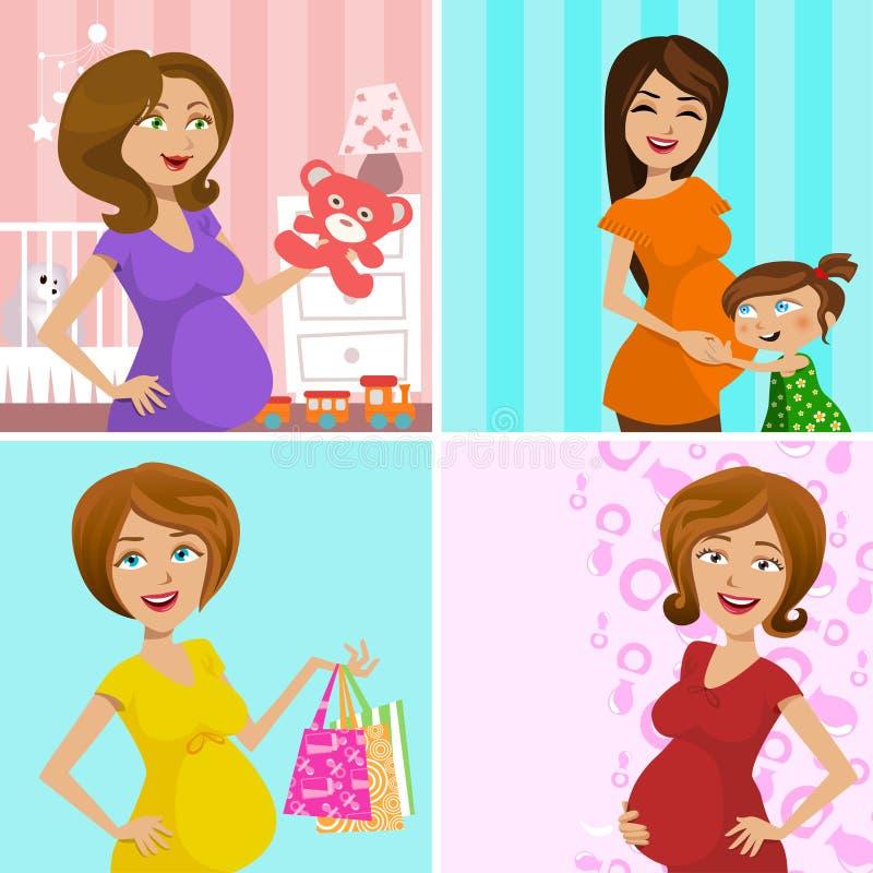 gravid moder royaltyfri illustrationer