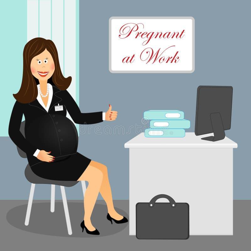 Gravid på arbete 4 stock illustrationer