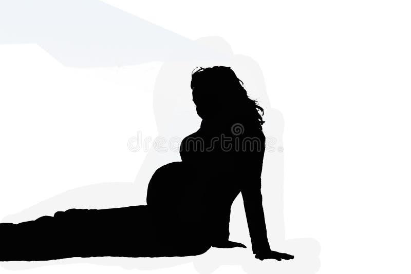 gravid sittande kvinna vektor illustrationer
