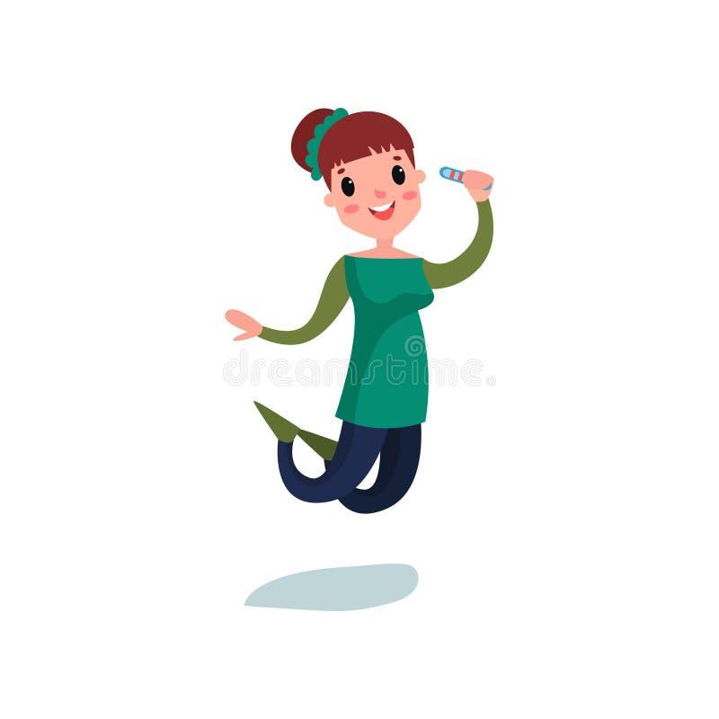 Gravid teckenbanhoppning för ung kvinna med den lyckliga framtida mamman för positiv graviditetstest Plan vektorillustration royaltyfri illustrationer