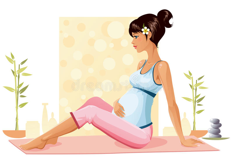 gravid yoga vektor illustrationer