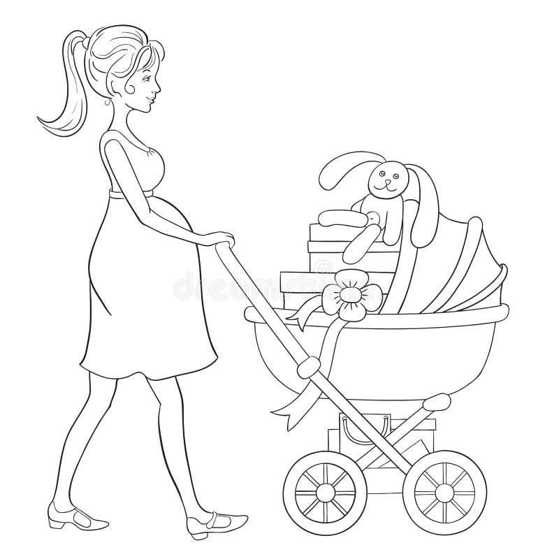 Gravida kvinnan går med barnvagn och shopping för barn stock illustrationer