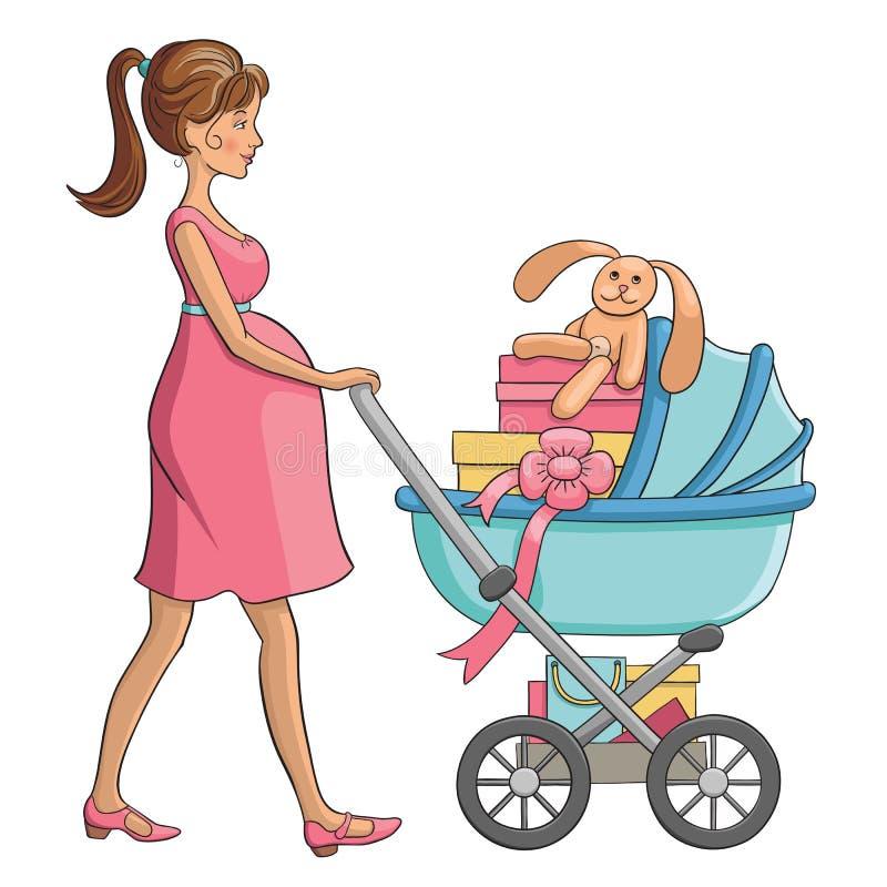 Gravida kvinnan går med barnvagn och shopping för barn royaltyfri illustrationer