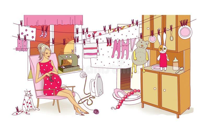 Gravida kvinnan kopplas in i de sista förberedelserna för födelsen av ett barn Tvätteri och lokalvård Kaos och förstörelse in royaltyfri illustrationer