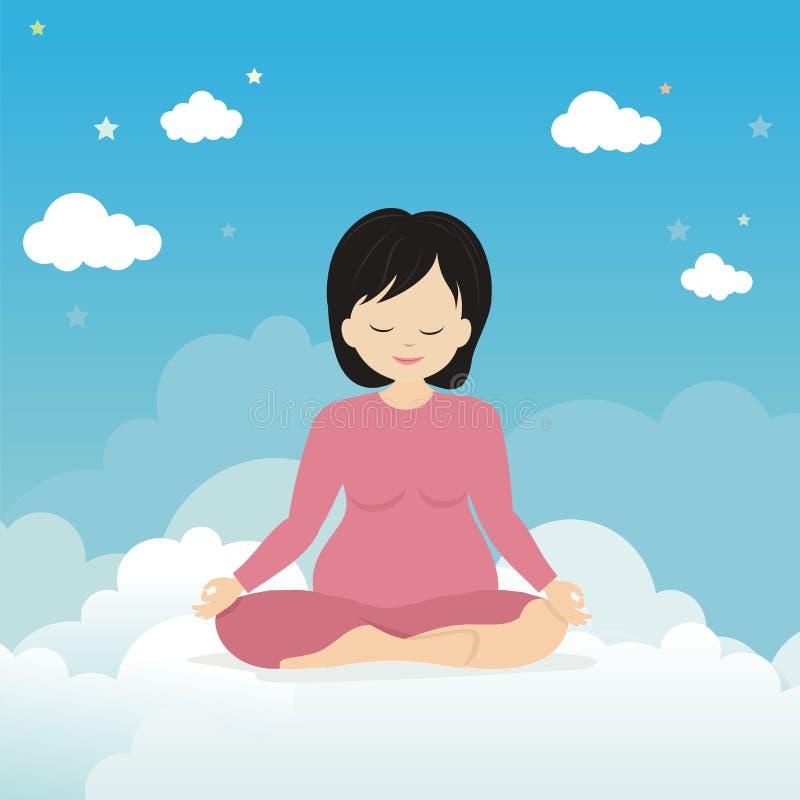 Gravida kvinnan som gör mediterar poserar vektor illustrationer