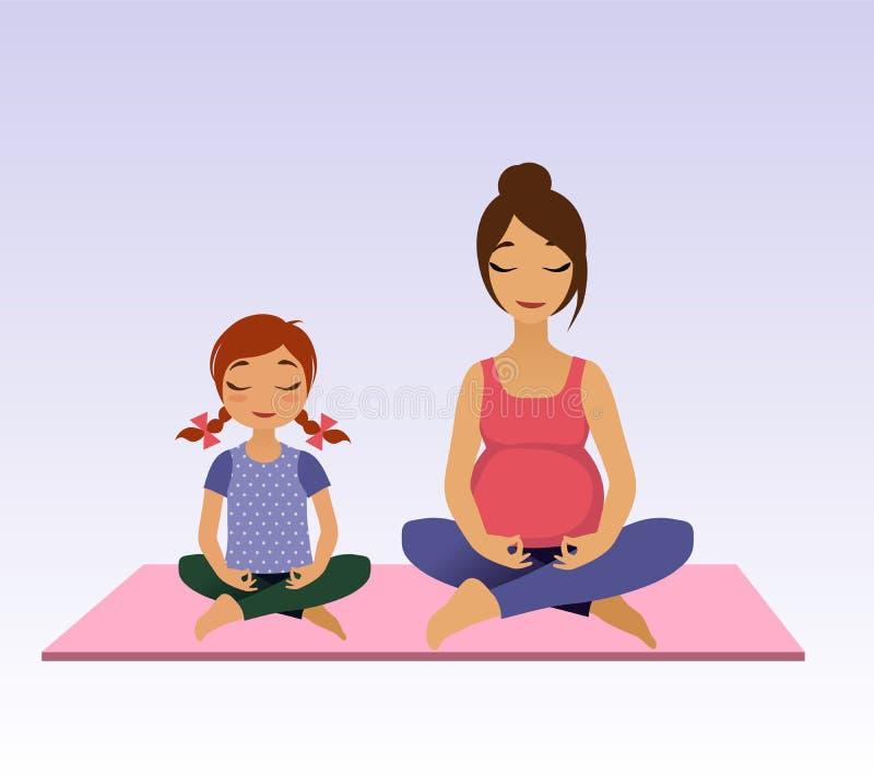 Gravida kvinnor och liten flicka som gör yoga stock illustrationer