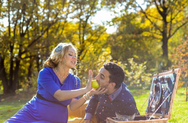 Gravida lyckliga och le par på picknick med katten royaltyfria foton