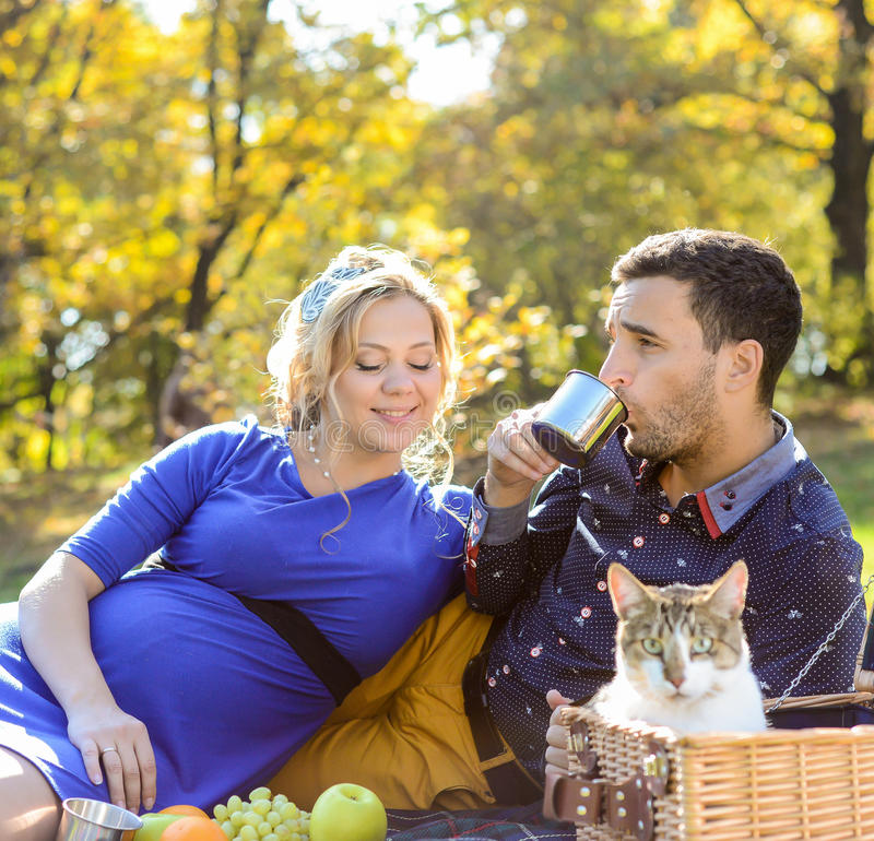 Gravida lyckliga och le par på picknick med katten royaltyfri foto