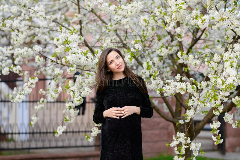 Gravidanza di estate Bella donna incinta Giovani genitori, fiori e felicità alla moda di giovane madre immagini stock libere da diritti