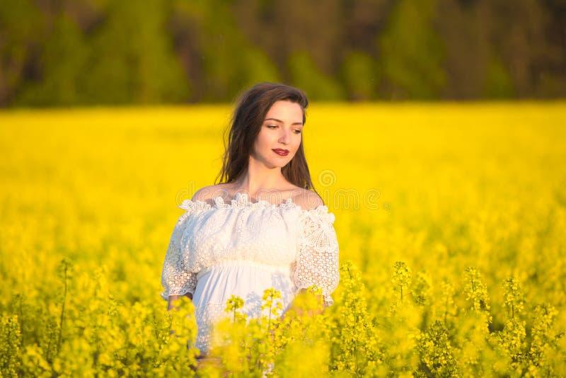 Gravidez do verão, na estação morna Retrato bonito de uma mulher gravida em um dia de verão morno na natureza Gravidez e imagens de stock royalty free