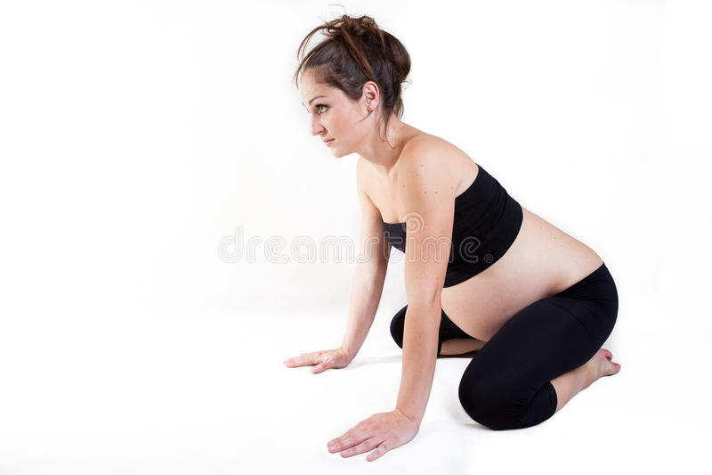 Gravidez e ioga fotografia de stock royalty free