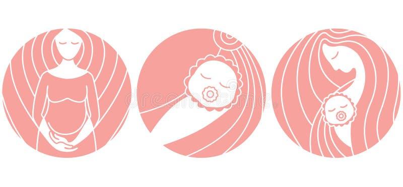 Gravidez e parto ?cones lineares do vetor ilustração do vetor