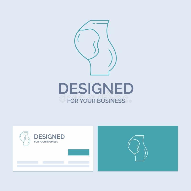 gravidez, grávida, bebê, obstetrícia, negócio Logo Line Icon Symbol do feto para seu negócio Cart?es de turquesa com tipo ilustração do vetor