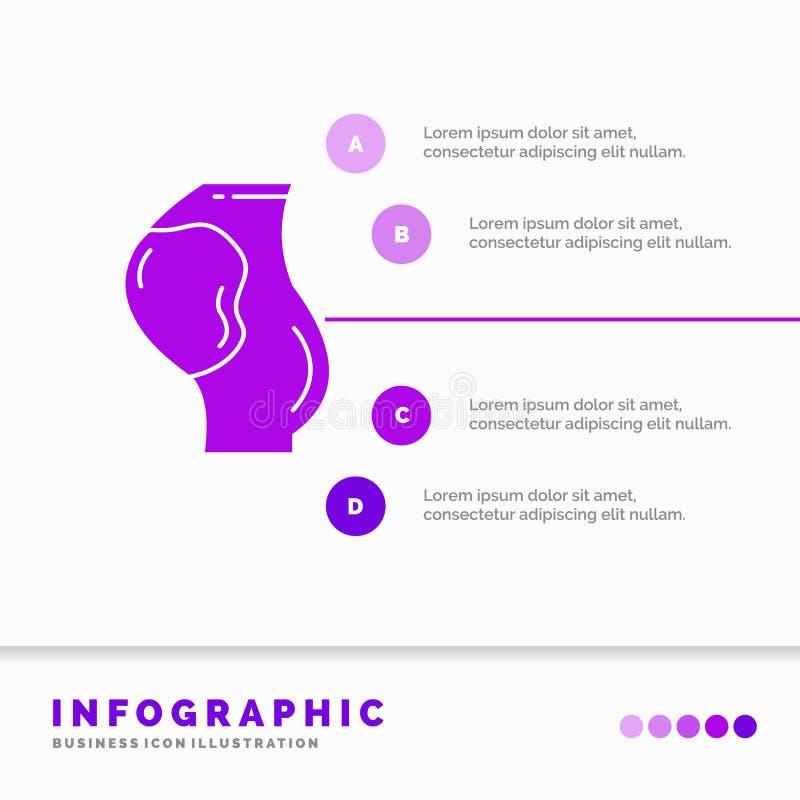 gravidez, grávido, bebê, obstetrícia, molde de Infographics do feto para o Web site e apresentação ?cone roxo do GLyph infographi ilustração do vetor