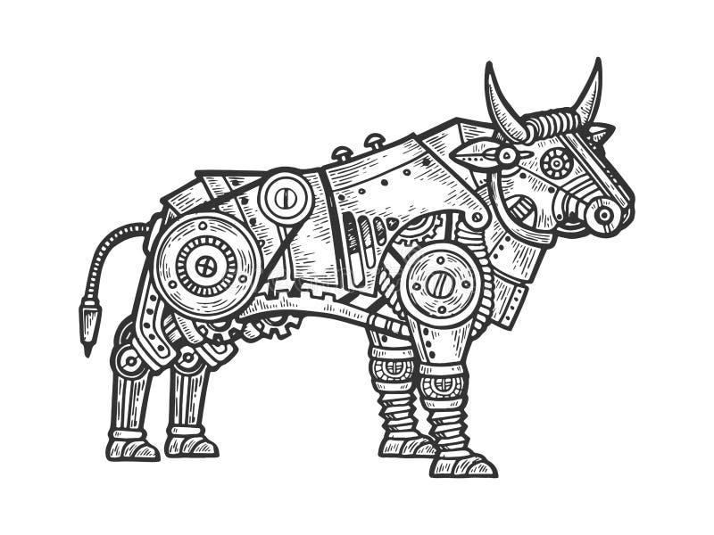Gravierender Tiervektor des mechanischen Stiers lizenzfreie abbildung