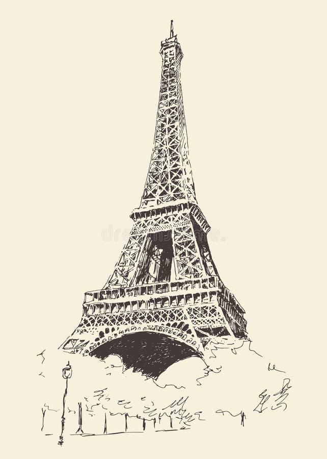 Gravierte Hand Eiffelturm-Paris Frankreich gezeichnet vektor abbildung