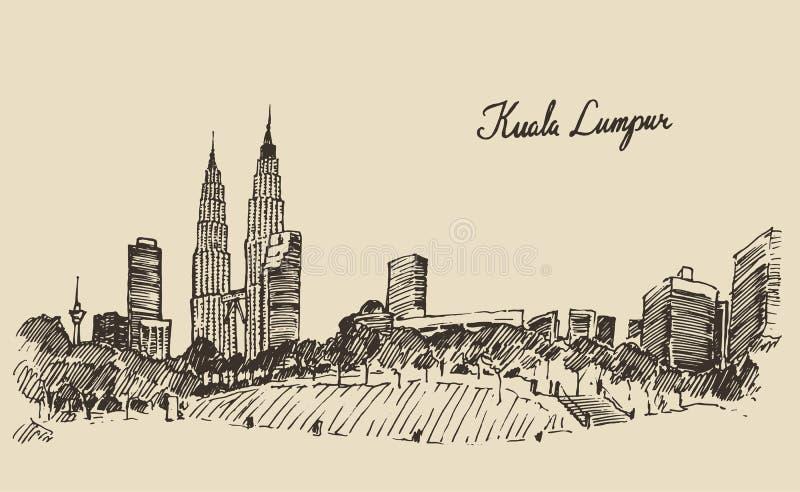 Gravierte Hand gezeichnete Skizze Kuala Lumpurs Skyline vektor abbildung