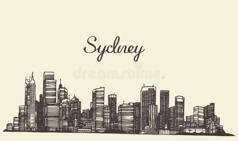 Gravierte Hand gezeichnete Skizze Sydneys Skyline lizenzfreie abbildung