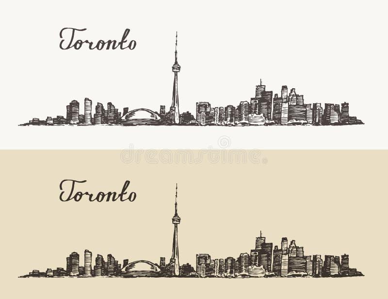 Gravierte Hand Toronto-Skyline Kanadas Weinlese gezeichnet vektor abbildung