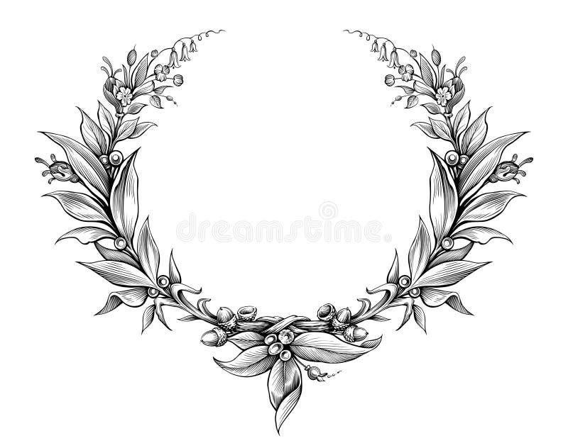 Gravierte heraldisches Schildmit blumenblatt des Lorbeerkranzweinlese Barockrahmengrenzmonogramms Blumentätowierungs-Schwarzweiss stock abbildung