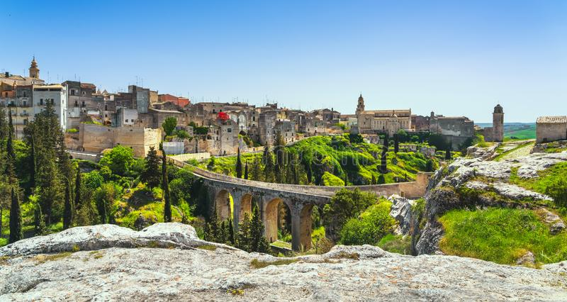 Gravina in Puglia ancient town, bridge and canyon. Apulia, Italy stock photography