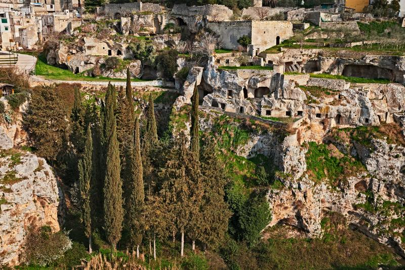 Gravina in Puglia, Bari, Italy: the ancient cave houses in the r stock photos