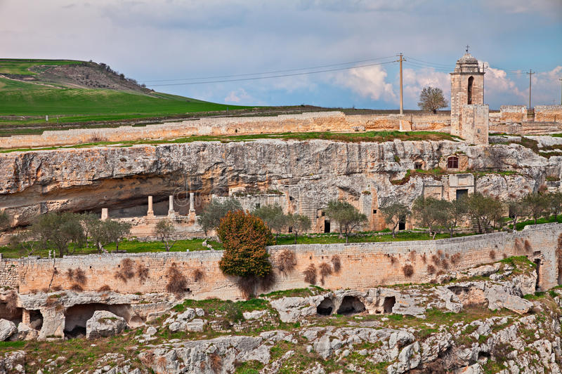 Gravina in Puglia, Bari, Italy: the ancient rock church Madonna royalty free stock photography