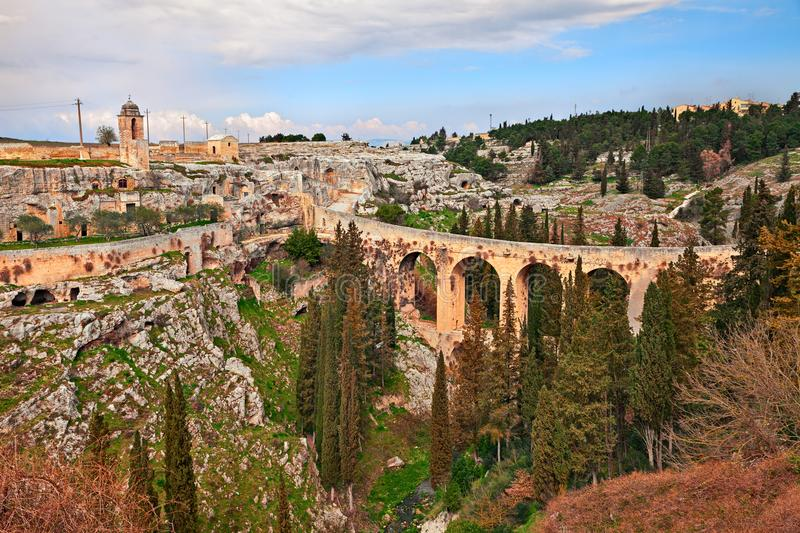 Gravina in Puglia, Bari, Italy: landscape of the the deep ravine stock photography