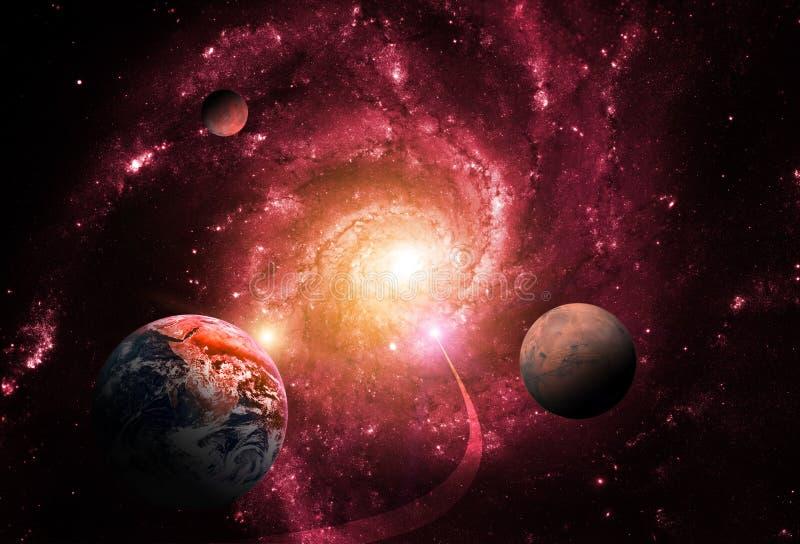 Gravitation av ett massivt svart hål försenar planeterna Avsluta av världen royaltyfri illustrationer