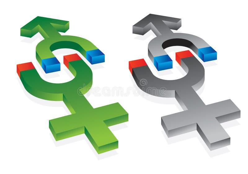 Gravitation der männlichen und weiblichen Symbole stock abbildung